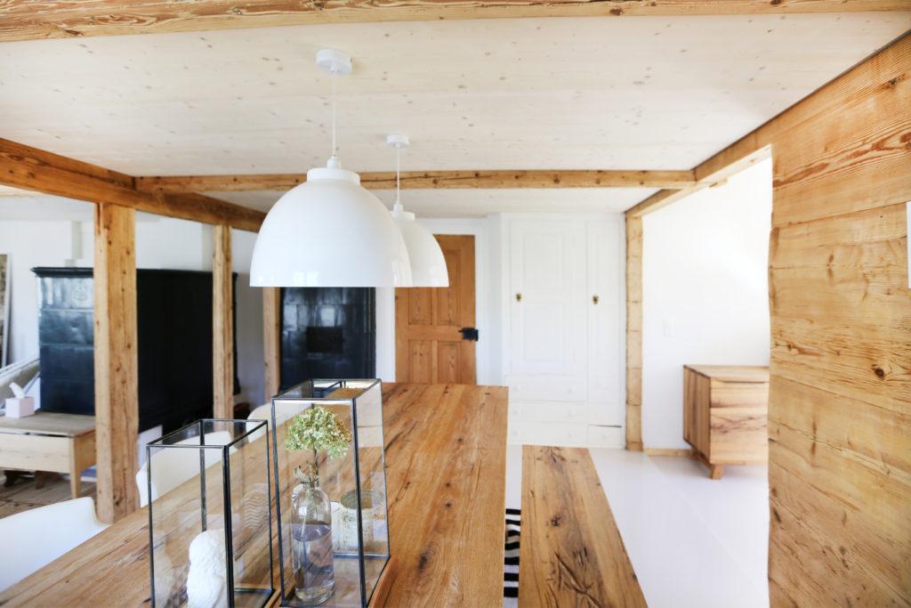 Esszimmer Holzdecke Holzboden