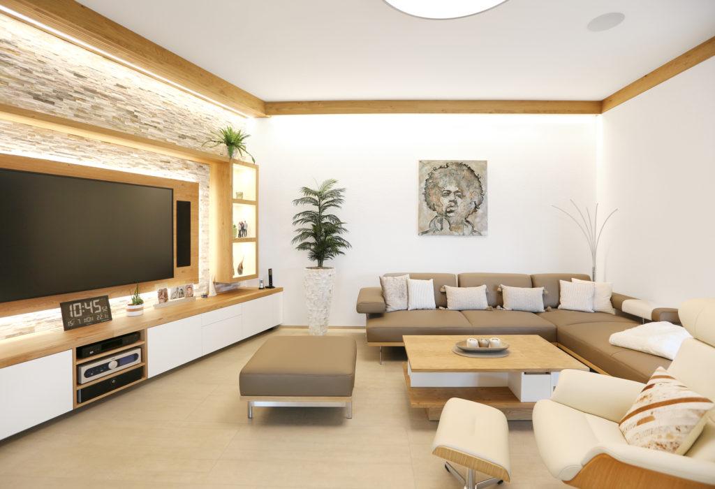 Wohnzimmer Wohnwand Eiche
