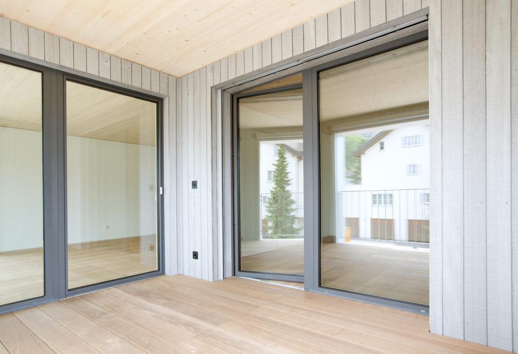 Balkon Holz Aluminium Fenster