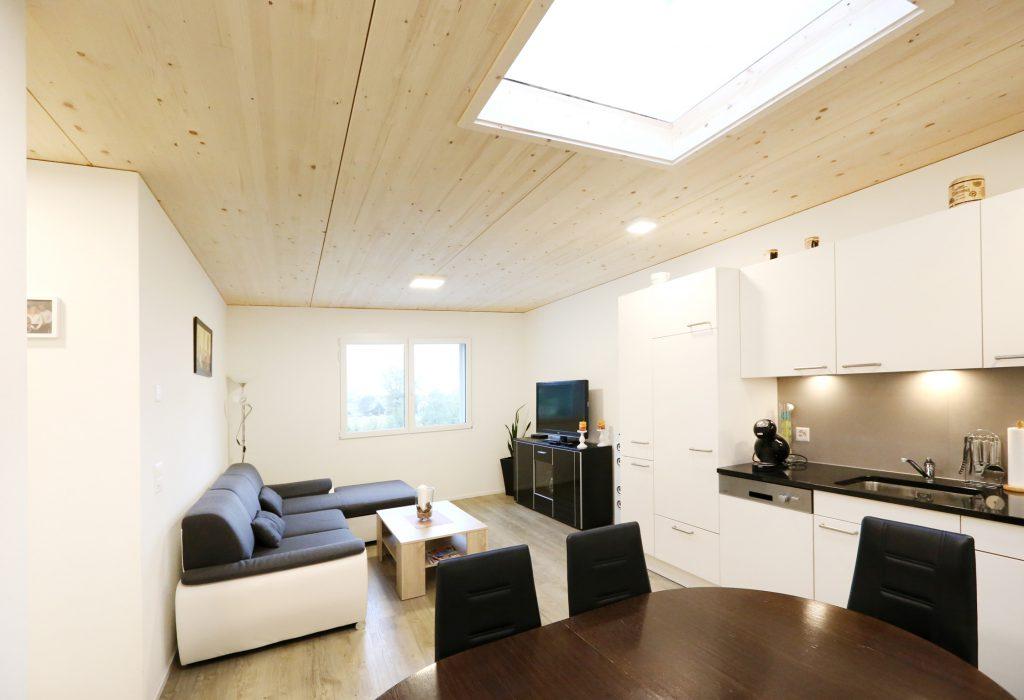Holzbau Dachfenster Kueche Wohnzimmer