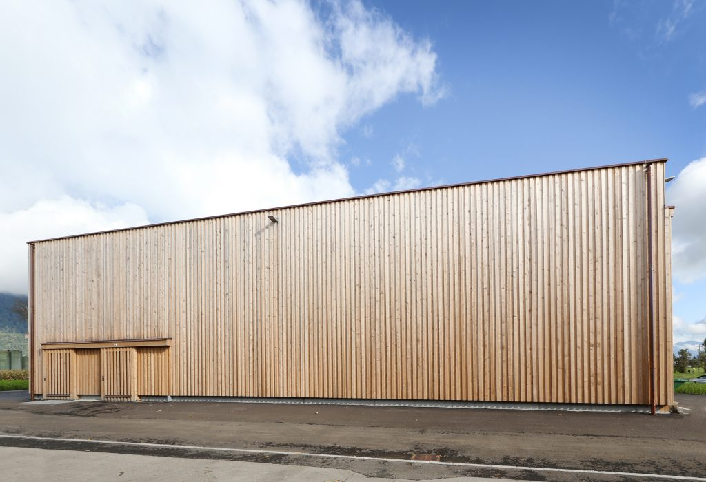 Holzbau Holzfassade Heizzentrale Aussenansicht