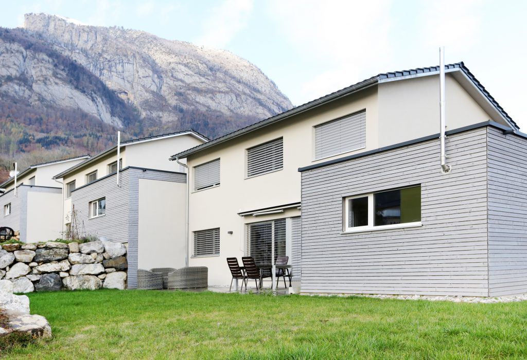 Neubau 3efh Reihenhaus Holzbau Aussenansicht