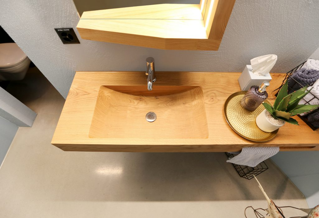 Waschtisch Badmoebel Holz Eiche Massiv Natur Lackiert 01